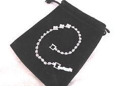 Silver Plated Rhinestone Tennis Bracelet 3 Block Design Bridal, Prom or Party