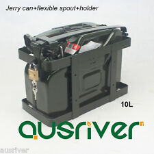 10L Jerry Can+Holder+Spout Portable Spare Petrol Storage Green for Motorcycle