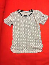 New Hollister Women White Black Geometric Print Short Sleeve Blouse Sz S
