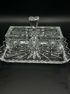 Godinger Dublin Covered Crystal Butter Dish Tulip HandLe Large Heavy Weight