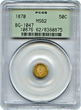 1870 California Fractional 50c BG-1047 PCGS MS62 OGH  High Rarity 4