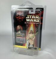Star Wars Hasbro 1998 CommTech Chip Qui-Gon Jinn Action Figure W/ display Case