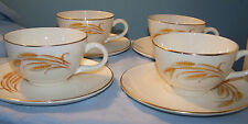 4 Homer Laughlin Golden Wheat Cup and Saucer Sets