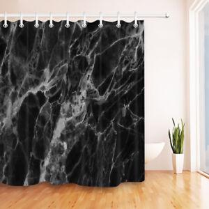 "72"" Black Marble Texture Shower Curtain Liner Waterproof Fabric Bathroom Hooks"