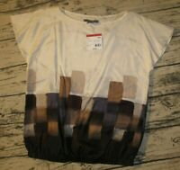 NWT Apostrophe Wo's M 100% Silk S/S Batwing Ivory Abstract Career Blouse Top