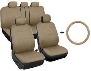 Microfiber Leather Steering Wheel Cover + Car Seat Covers (Full Set) Tan Beige