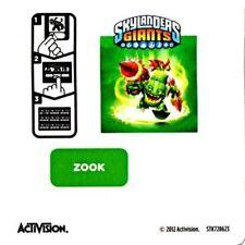 Zook Skylanders Giants Sticker/Code Only!
