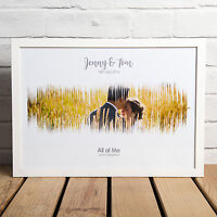 PERSONALISED FIRST DANCE SOUND WAVE PHOTO PRINT - GREAT WEDDING ANNIVERSARY GIFT