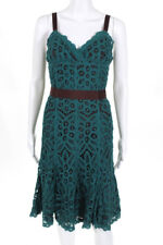 Betsey Johnson Women's Dress Size 6 Green Brown Open Knit V-Neck Sleeveless