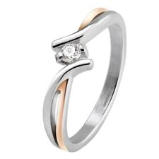 Simulated Diamond Solitaire Anniversary Ring Rose Gold S-Steel Wedding Band 5-9