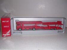 "HERPA #806049  Mercedes Cab w/Auto Transporter Trailor ""Red"" H.O.Gauge"