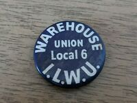 Vintage 1940's 1950's ILWU Warehouse Union Local 6 Pin Pinback Button 1""