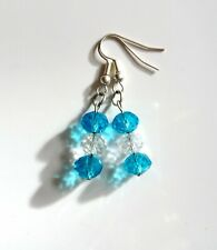 Handmade Silver Plated Clear & Cyan Blue Faceted Glass Bead Dangle Earrings!