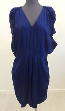 NWT $1,043 MARNI Violet W/ Smocked Sleeves & Pockets Pleated Dress Size 44 US 8
