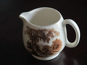 "ANTIQUE WHITE/BROWN ADAMS-LANCASTER ENGLISH WARE 3"" TALL FOOTED CREAMER-ENGLAND"