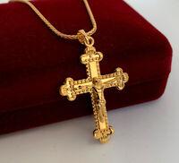 Designer Damen Herren Halskette Kreuz Anhänger 999er Gold 24K vergoldet 50 cm