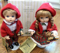 Pair Of Seymour Mann Porcelain Christmas Dolls Maggie & Michael Mib With Box