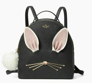 Kate Spade Bunny Rabbit Sammi Hop To It Backpack Bag Black Purse NWT