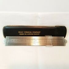 Pocket Slide Rule Humble Oil Enjay Esso Case Advertising Stainless Steel -AB1