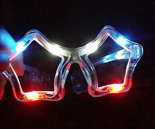Light Up Flashing Star Glasses with 10 R-W-B LED's