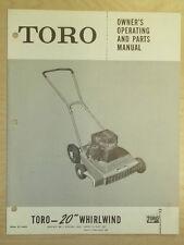 "TORO MOWER OPERATING PARTS MANUAL MODEL WHIRLWIND 20"""