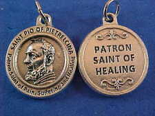 St PADRE PIO Patron St of PAIN HEALING SUFFERING Saint Medal Silver Tone Metal