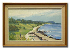 H BJÖRK / COASTLINE - 1950´s Original Swedish Oil Painting