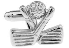 Golf Clubs Head  & Ball Cufflinks Silver Wedding Fancy Gift Box Free Ship USA