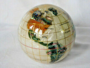Gemstone Inlaid World Globe Paperweight, Vintage Kalifano, 3 1/4'', EXC.