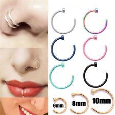 Нос кольцо хирургическая сталь поддельные носовые кольца обруч для губ носовые кольца маленькие тонкие пирсинг