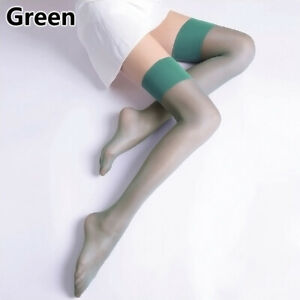 Womens Oil Shiny Glossy High Stockings Lace Sexy Stay Up Thigh-Highs Hosiery