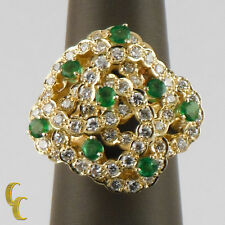18k Yellow Gold 2.60 carat Diamond and Emerald Cocktail Ring Size 7.25