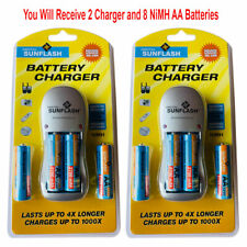 2pk Rechargeable AA & AAA Battery Charger with 4 AA NiMH Rechargeable Batteries