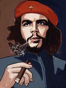 ERNESTO CHE GUEVARA CIGAR PRINT poster cuban cigar smoking havana beret cohiba