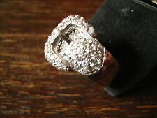 edler vintage Designer Ring Gürtelring Gürtel Cocktailring 925er Silber Zirkonia