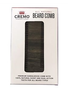 1X Cremo All Natural Premium Sandalwood Scented Beard Comb Dual Action Teeth
