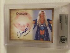 CHARLOTTE FLAIR WWE DIVA SIGNED AUTOGRAPH KISS CARD BECKETT SLABBED COA