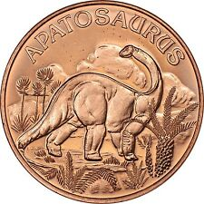 Tube of 20 Ounces Of Copper 1 oz Each DINOSAUR GIGANOTOSAURUS Bullion Rounds
