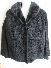 Vtg CURLY Black Persian Lamb Fur Collar Jacket 1950s Vixen Swing Crop Large
