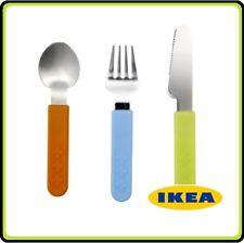 IKEA SMASKA Stainless steel Childrens Kids  Knife Fork Spoon 3 Piece Cutlery Set