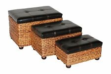 Set of 3 Ottoman Bench Chair Lift Top Seat Storage Faux Leather Upholstered