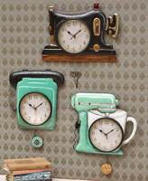 Retro Metal Pendulum Kitchen Wall Clocks Sewing Machine Telephone Phone Mixer