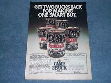 """1980 Cam2 Motor Oil Vintage Ad """"Get Two Bucks Back..."""""""