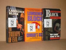 3 SIGNED LAWRENCE BLOCK lot COWARD'S KISS, TRIUMPH OF EVIL, NOT COMIN' HOME TO