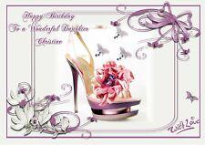 Personalised birthday card Designer Shoes mum sister daughter grandaughter e