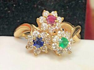 VINTAGE ESTATE 14K GOLD DIAMOND RUBY EMERALD BLUE SAPPHIRE RING FLOWERS