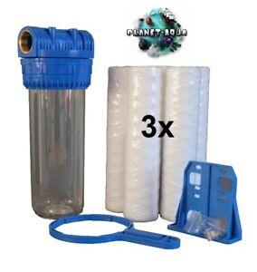 "Wasserfilter Gehäuse SET 10 Zoll 1"" + 3 x Sediment Vor Filter Brunnen Pool Pumpe"