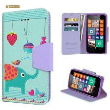 For Nokia Lumia 635 Flip Diary Wallet Case Image Elephant Spraying Bird
