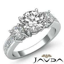 Prong Channel Set Round Diamond Engagement 3 Stone Ring GIA F SI1 Platinum 2.5ct
