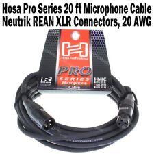 Hosa Pro Series 20 ft XLR Microphone Cable Neutrik REAN Connectors 3 Pin Cord